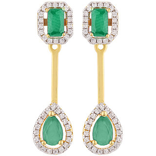 Voylla CZ Green Gems Adorned Earrings
