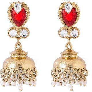 Voylla Red Stones Adorned Jhumki's in Glossy Golden Finish