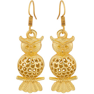 Voylla Trendy Pair Of Owl Design Gold Tone Danglers