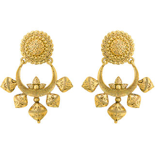 Voylla Great Maratha Yellow Gold Plated Dangler Earrings