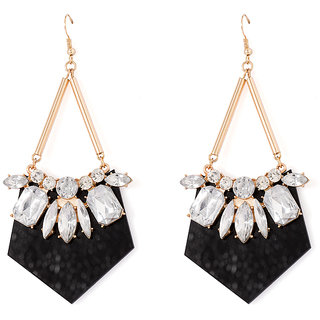 Voylla Black Edgy Multicolor Stones Adorned Dangler Earrings