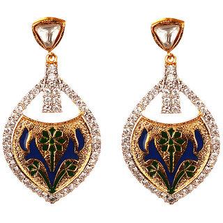 Voylla Lovely Tear Drop Earrings With Minakari Work