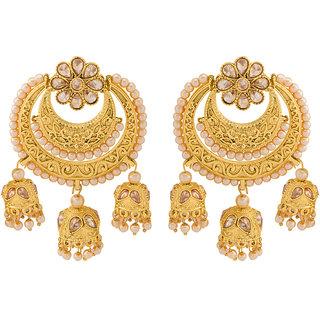 Voylla Pearl Studded Chandbali Earrings