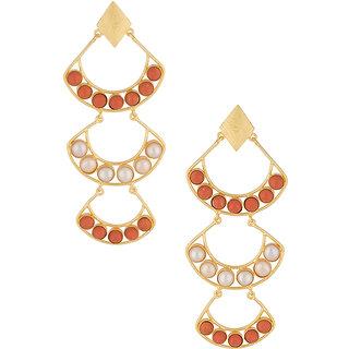 Voylla Peach-White Stone Decked Dangler Earrings