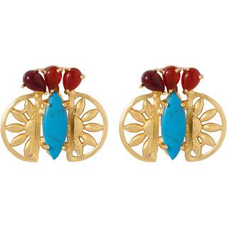 Voylla Gold Tone Pair Of Dazzling Dangler Earrings