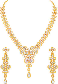 MFJ Fashion Comtemporay Classic Gold Plated White Stone Princess Style Necklace Set For Women