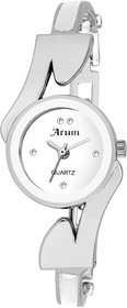 Arum New Collection White Round Shaped Dial Metal Strap Fashion Wrist Watch for Women's and Girl's ASWW-033
