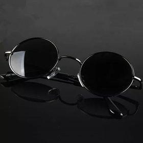 Debonair Black UV Protected Round Full Rim Metal Round Unisex Sunglasses