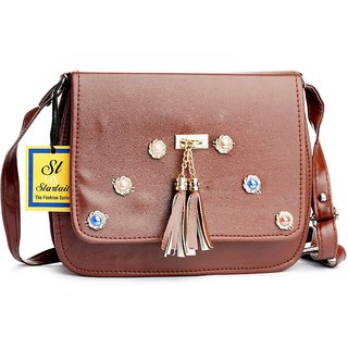 5ba9cd4c020 Buy Startail Women Evening/Party Brown Rexine Sling Bag Online - Get ...