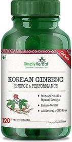 Simply Herbal Korean Ginseng 500mg 120 Veg Capsules (120)