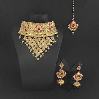 JewelMaze Red Austrian Stone Choker Necklace Set With Maang Tikka - 1113632