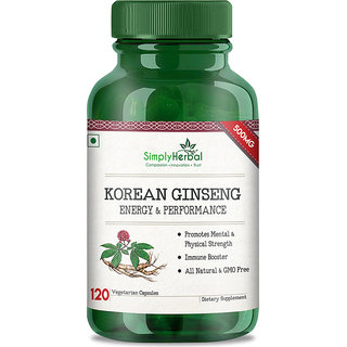 Simply Herbal Korean Ginseng 500mg 120 Veg Capsules (120)