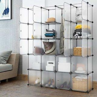 House of Quirk 20 Cube Shelving Closet System Cube Organizer Plastic  Storage Cubes Drawer Unit, DIY Modular Bookcase Cab