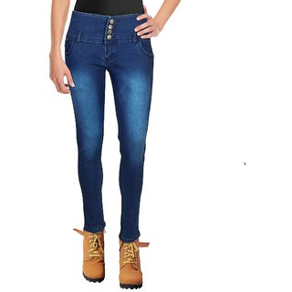 Blinder Women's Navy Blue 4-Button Skinny Denim Jeans