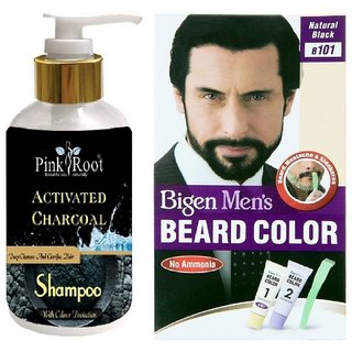 Pink Root Activated Charcoal Shampoo With Bigen Men\'s Beard Color B101  Natural Black