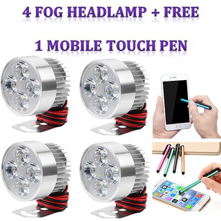 LED Fog Light / Fog lamp / SPOT LIGHT / FOG Headlamp / Universal Bike car  Scooter  4 PC + Free 1 Mobile Touch Pen