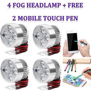 LED Fog Light / Fog lamp / SPOT LIGHT / FOG Headlamp / Universal Bike car  Scooter  4 PC + Free 2 Mobile Touch Pen