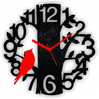 Black Red Sparrow On Tree Analog Wall Clock Size 10 INCH  MDF Material