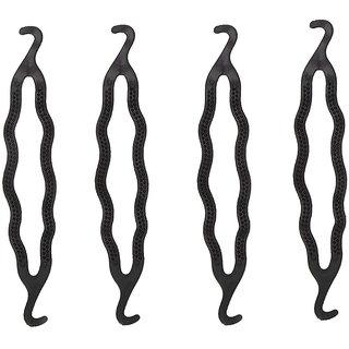 GadinFashion Pack of 4, Styling Clip Bun Maker Braid Tool Bun (Black) Hair Accessory Set For Women And Girls