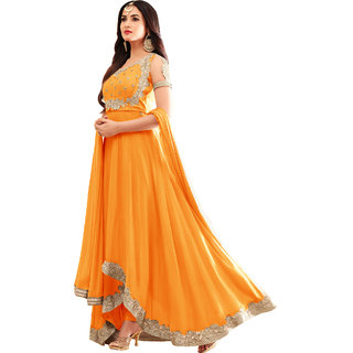 FASHION CARE present embroidered work Yellow semi-stitched anarkali suit for women's KCMS-4602YELLOW