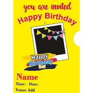 Ezellohub Printed Fancy Designer Happy Birthday Invitation A3 Size Pack Of 10 Invitation Card
