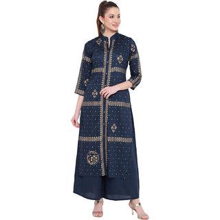Lopa Women's Blue Long Straight Fit Rayon Foil Print Kurta And Flared Palazzo Set