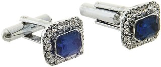 Lucky Jewellery Unique Blue Color Silver Plated Office Formal Wedding Partywear Shirt Suit Blazer Cufflinks Pair Set For Men (225-M4C4-CRM7220-B-S)