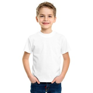 DOUBLE F ROUND NECK HALF SLEEVE WHITE COLOR PLAIN T-SHIRT FOR BOYS