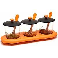Khush Enterprises Plastic Jar for Masala Salt Pickle Sauce Storage Organizer Pot with Spoons  Tray Kitchen Decor 3 Piec