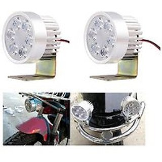 2pcs 6 LED Silver Highlighting Fog Spot Driving Light Lamp For All Motorcycle / Bike / Scooter - Universal