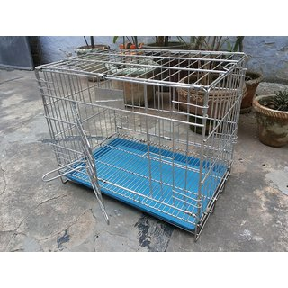 Steel Cage Portable Good for small Pups-Rabbit-Guinea Pigs, Pigeons  Duckling Size 18 inch