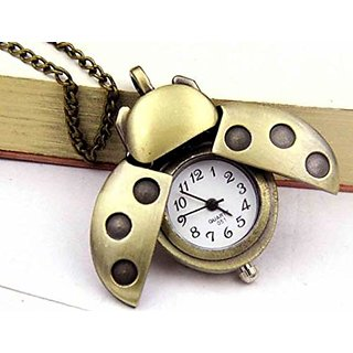 7effa8ac3 Antique Gold Retro Beetle Pocket Watch Necklace Pendant With Chain For Women