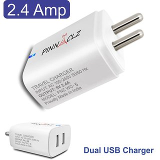 Pinnaclz Dual USB 2.4 Amp Wall Charger (White)