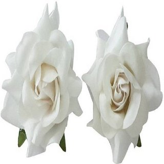 rkd  white  Rose flower Velvet Hair Clip