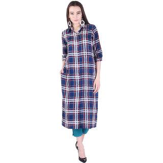 Adesa Womens Kurta/Kurti:Blue Check Printed Kurta