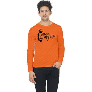 99654f461 Buy Orange color Full sleeve har har mahadev printed tshirt Online - Get  42% Off