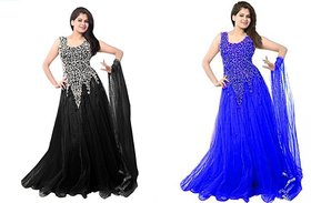 Vkaran Black and Blue Net Embroidered Gown