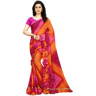 Bhuwal fashion designer Georgette Ruffle Lace Saree With Blouse-BF5221