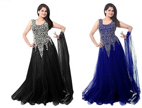 Florence Black and Blue Net Embroidered Gown