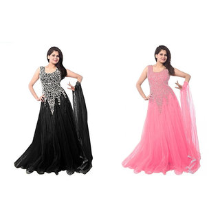 Florence Black and Light Pink Net Embroidered Gown