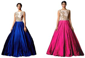 Florence Blue Pink Silk Embroidered Gown