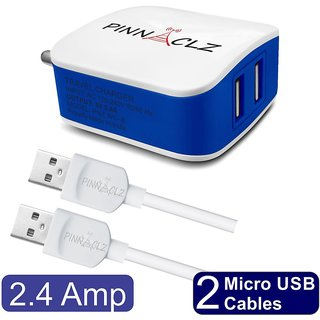 Pinnaclz Combo of Dual USB 2.4 Amp Wall Charger (White-Blue) + 2 pcs 3 Feet Sync  Charge Micro USB Data Cable 2.4 Amp