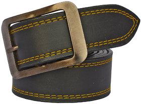 Sunshopping men's black leather needle pin point buckle belt