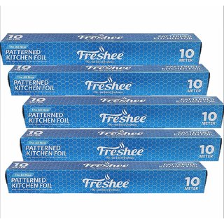 Freshee 10 mtrs 10.5 microns thick Aluminium Kitchen Foil Roll Pack of 5 for Multipurpose use with High Quality Standard