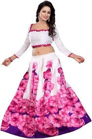 Designer Pink and White Color Bangalore Satin Semi Stitched Printed Lehenga By Omstar Fashion (PINK ROSE1)