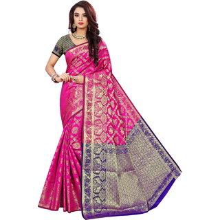 Indian Fashionista Womens Banarasi Jacquard Silk Saree with Blouse Piece DholPinkBlueFree SizePinkBlue