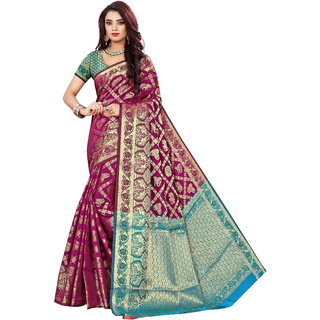 Indian Fashionista Women's Banarasi Jacquard Silk Saree with Blouse Piece (DholPurple-RamaFree SizePurple-Rama)