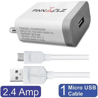 Pinnaclz Combo of Single USB 2.4 Amp Wall Charger  White  + 3 Feet Sync  Charge Micro USB Data Cable 2.4 Amp