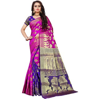 Indian Fashionista Womens Banarasi Silk Jacquard Saree with Blouse Piece MangoPinkBlueFree SizePinkBlue