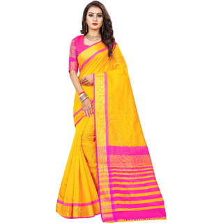 Indian Fashionista Women's Plain Cotton Silk Saree with Embroidered Blouse Piece (1799-YellowFree SizeYellow)